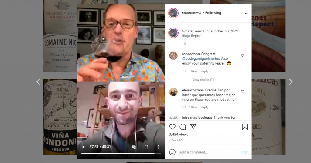 A screen shot from a moment of time atkin talking to miguel merino in his rioaj report 2021 on instagram