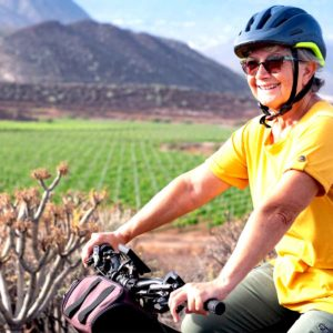 lasy on bike on Rioja Bike Tour